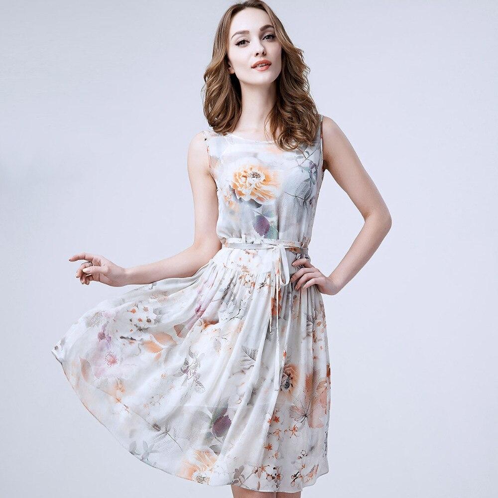 100% Silk Summer Dress New Designal Natural Silk Chiffon Summer Style Beach Dress Bohemian Style High Quality Fashion Dresses summer special style 100