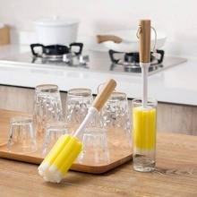 Бутылка Чашка Чистящая губка бутылка очиститель бамбуковая Ручка Кофе Чай стекло чашка-заварник стиральная щетка аксессуары для кухни