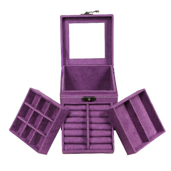 Exquisite 3-Layer Jewellery Box Case Dressing Case Storage Box