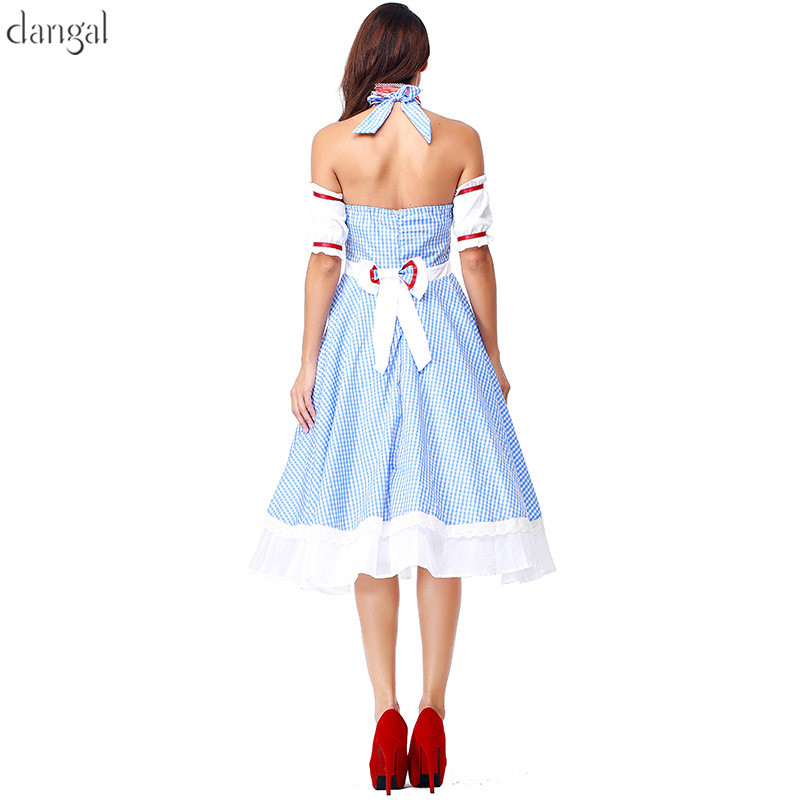 US $37 0 |Dangal Cute The Wizard of OZ Women Dorothy Gale Blue Dress DG  girl Cosplay costume With Neck Ring Housemaid Drama Dorothy dress -in Movie  &