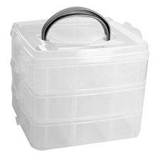 TEXU 3 layers plastic transparent Storage box make up organizer case