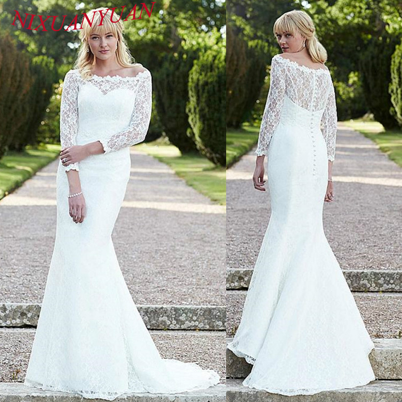 NIXUANYUAN Elegant Scoop Ivory White Lace Mermaid Wedding Dress 2019 Three Quarter Sleeves Bridal Gown Sexy Vestido De Noiva