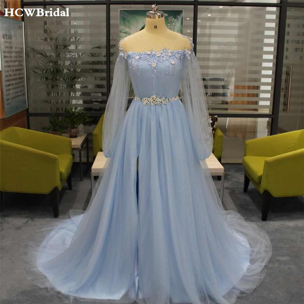 5f296eca452d Light Blue Long Sleeve Evening Dress Sweep Train High Split Pearls Lace  Tulle Prom Gowns 2019