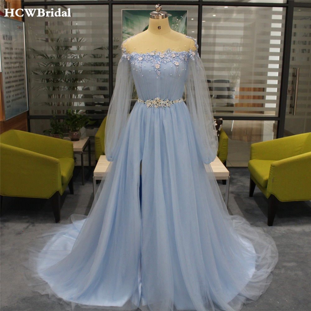 Light Blue Long Sleeve   Evening     Dress   Sweep Train High Split Pearls Lace Tulle Prom Gowns 2019 Custom Made Women Occasion   Dresses
