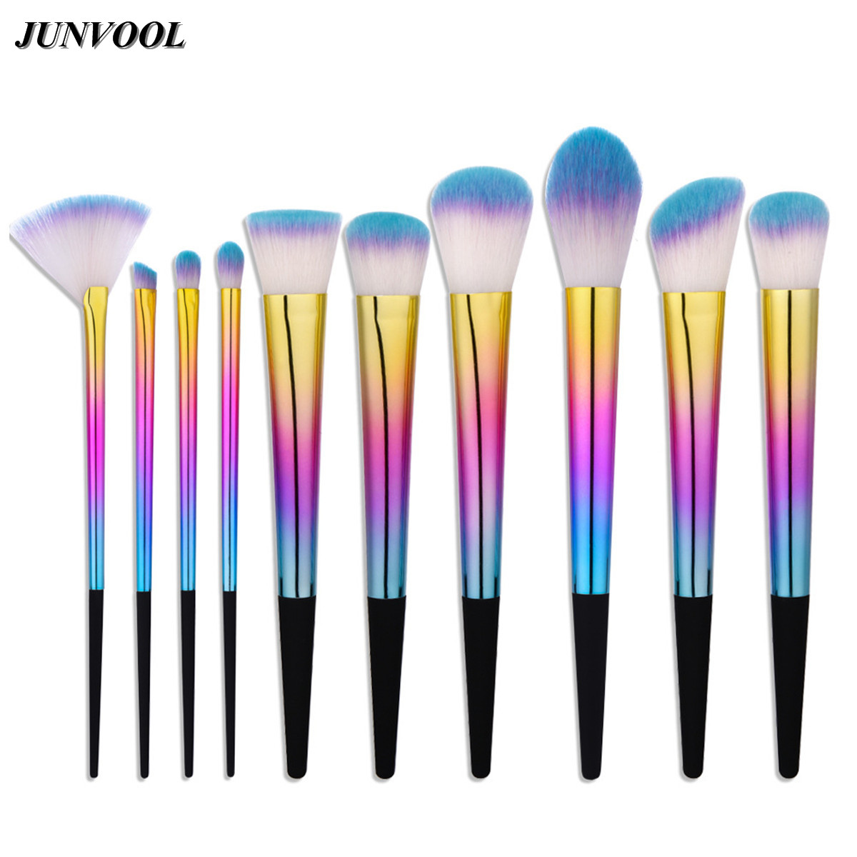 Fan Cosmetic Makeup Brushes Set 10pcs Dazzle Color Facial Cheek Eyebrow Eyeshadow Powder Foundation Brush Pincel Maquiagem