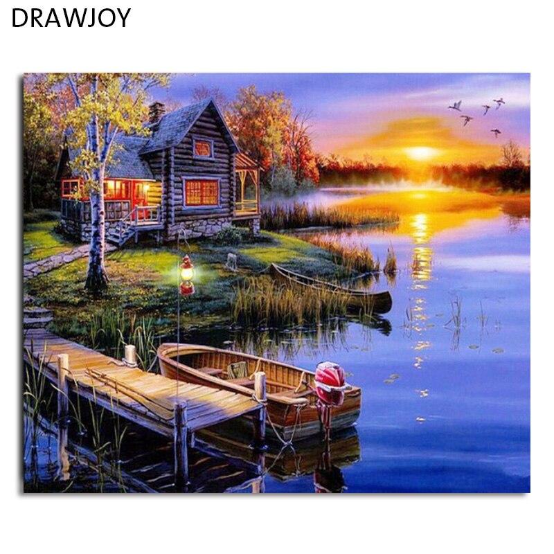 DRAWJOY Incorniciato Pittura e Calligrafia Paesaggio Pittura di DIY Dai Numeri Home Decor Per Soggiorno GX5853 40*50 cm