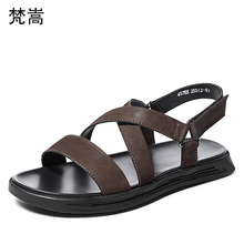 Magic sticker Sandals Male Leather Roman cowhide soft bottom beach shoes mens gladiator sandals summer British retro