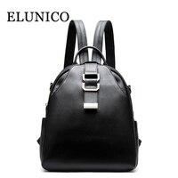 ELUNICO Brand Summer New Leisure Women S Genuine Leather Backpack Ladies Black Casual Cowhide Leather Backpack