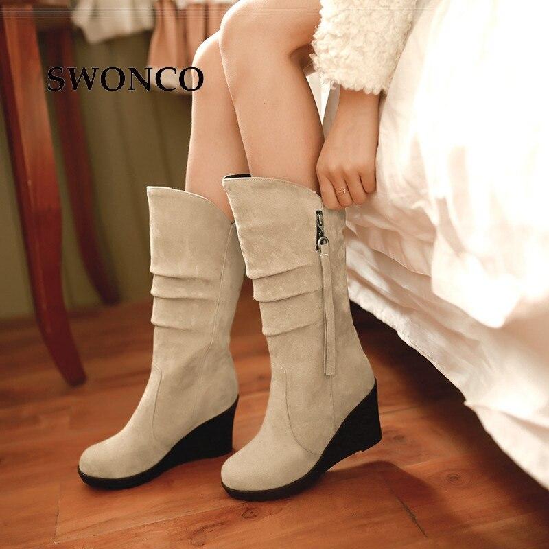 SWONCO Women's Boots PU Leather Warm Short Plush Female Shoes Women Boots Winter Mid Calf 6cm Wedges Woman Shoes Plus Size 32-46