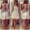 Fashion White Lace Short Prom Dresses 2016 Sexy See Through Short Cocktail Dresses Simple A-Line Short Prom Dresses Hot Sale