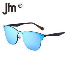 JM Wholesale 10pcs/lot Mirror Rimless One Piece Horned Rimmed Metal Integrated Sunglasses Women Men Frameless Sun Glasses