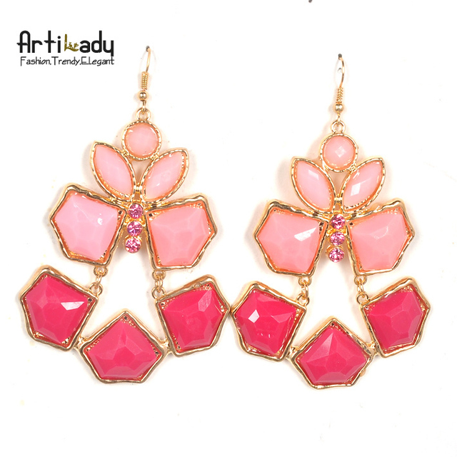 Artilady 14k gold drop  earrings with pink crystal 2014 new fashion classical  earrings statement jewelry