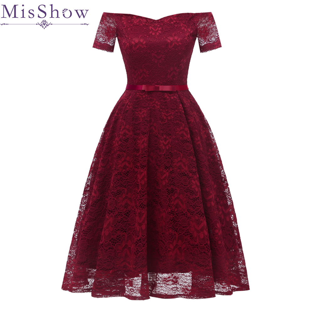 In Stock burgundy Full Lace   Cocktail     Dresses   Elegant off the shoulder Short Homecoming   Dress   Formal   Dress   Women Short Prom Gown