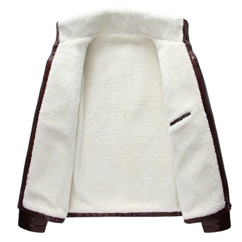 Men Autumn Winter Thick Fleece PU Leather Jackets Coats Hombre Male Casual Fashion Slim Fit Large Size Zip Jackets Men Coat - 5
