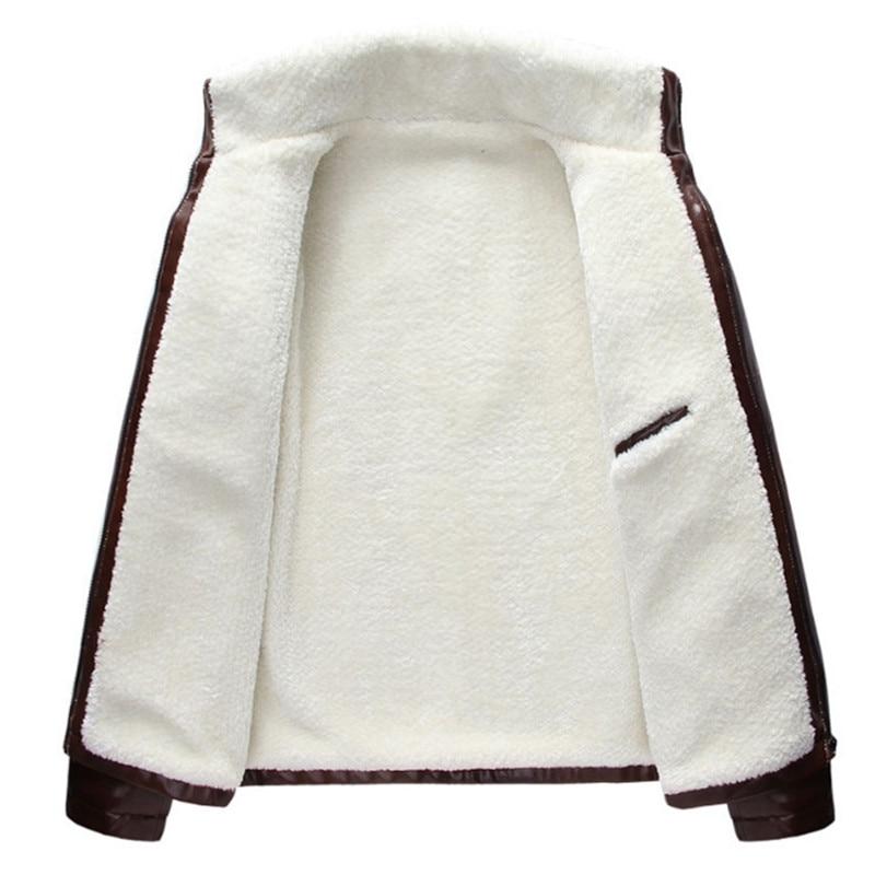 Uomini Autunno Inverno di Spessore del Panno Morbido Cuoio DELL'UNITÀ di elaborazione di Giubbotti Cappotti Hombre Maschio Casual Moda Slim Fit Grande Formato Zip Giubbotti Uomini cappotto - 5