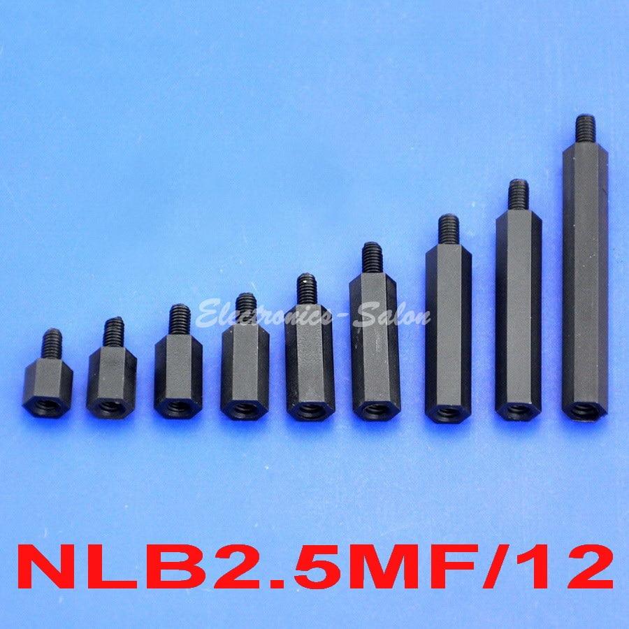 0.47 Black Nylon M2.5 Threaded Hex Female-Female Standoff Spacer. Electronics-Salon 100pcs 12mm