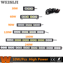 WEISIJI 30W/60W/90W/120W/180W/240W LED Light Bar with Cree Chips Offroad Working Light Bar for Jeep Ford Audi SUV ATV Combo Beam