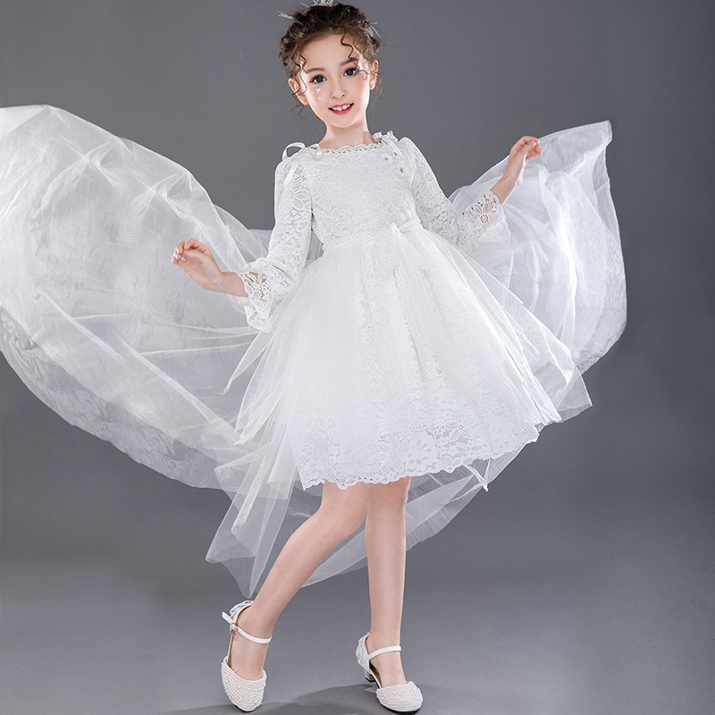 white fancy princess dress detachable tail flower girl