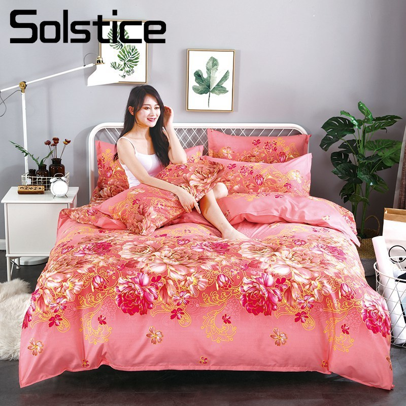 Solstice Home Textile Red Hot Flower Girls Teen Bedding Suit King Queen Duvet Cover Bed Flat Sheet Pillowcase Adult Woman Linens