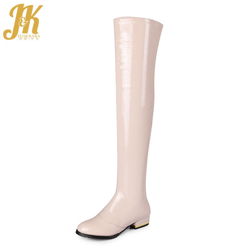 JK Fashion Patent Leather Over the Knee Boots Women Shoes Genuine Leather Pu Thigh High Boots Chunky Heel Zip Winter Footwear