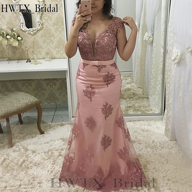 Light Pink Mermaid Mother Of The Bride Dresses Plus Size Sheer Jewel ...