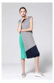 MIYAKE pleated wrinkle female new  loose fitting color crash dress female summer dresses free shipping