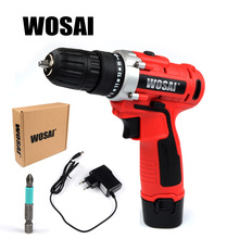 WOSAI  12V DC Household Lithium-Ion Battery Cordless Drill Driver Power Tools Electric Drill