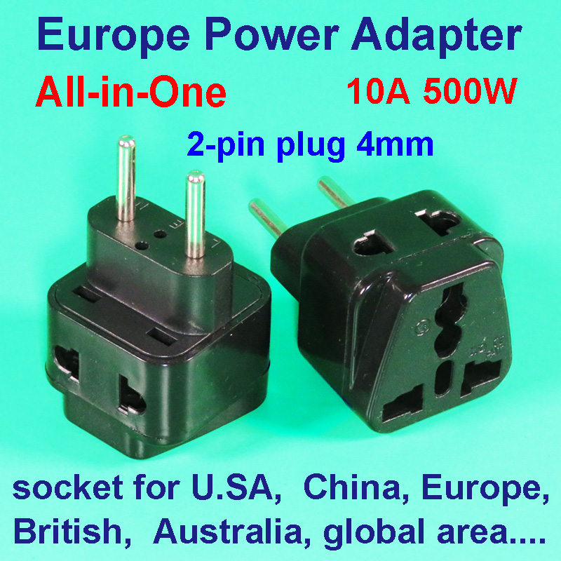 Universal Europe Travel Power Adapter Converter VDE Two-pin Plug 4mm Legs To Global British Germany Italy America China Socket