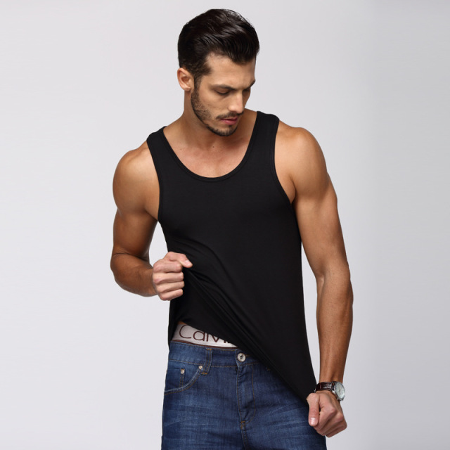 EXILIENS Men Vest Tank Top Brand Man Underwear Mens Sexy Undershirts Pure Modal O Neck Fitness Elastic Force Size Plus L-XXL