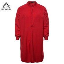 TOPMELON Kaftan Mens Muslim Islamic clothing Hombre Arabic Robes Navy Black Red White Solid Jubba Thobe for Men Pakistan Abaya