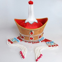 Mongolia Unique Headwear Female Hat Mongolian Royal Headwear High-crowned Lady Hat Adult National Dance Performance Hat Red adult mongolia chapeau mongolia dance hat headdress xiangfei mongolian folk dance stage tv play movie headgear