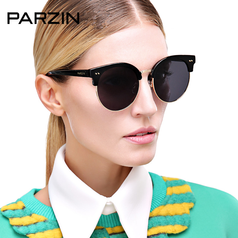 PARZIN Tr 90 Fashion Polarized Sunglasses Women Vintage Oversized Sun Glasses Female Driving Glasses With Packing Black 9802