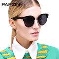 Parzin tr 90 gafas de sol polarizadas de moda de las mujeres negro vintage de gran tamaño gafas de sol femeninas de conducción gafas con estuche negro 9802