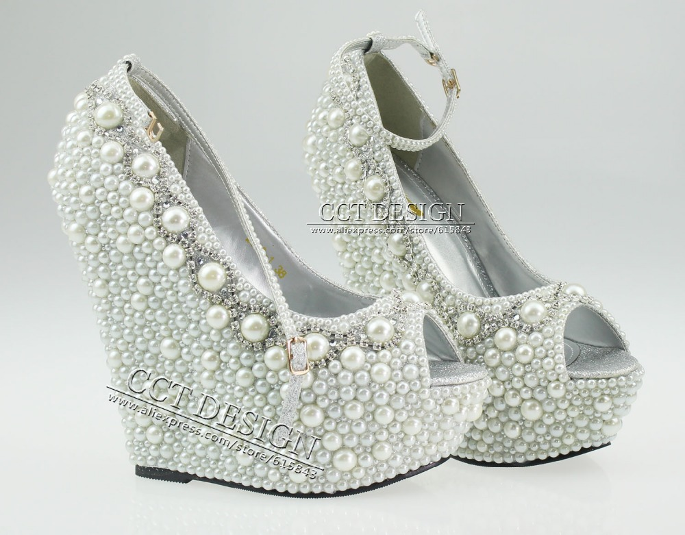 2014 new fashion wedding wedges formal wedding shoes white