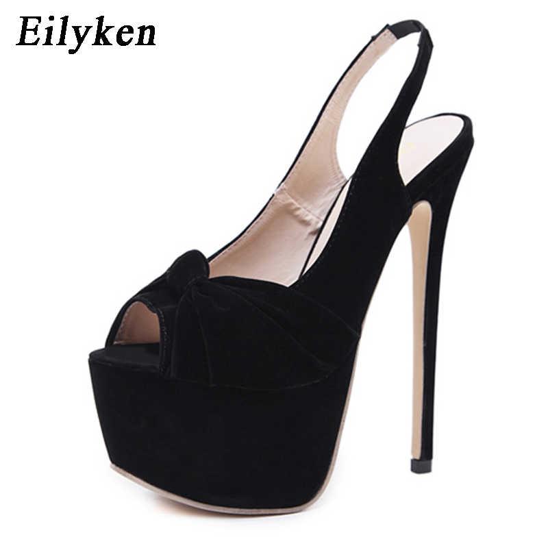 Eilyken 2018 Autumn Black Flock Peep Toe Pumps Party shoes Stiletto Heels  Sexy Slip-On 9ca8d1383db8