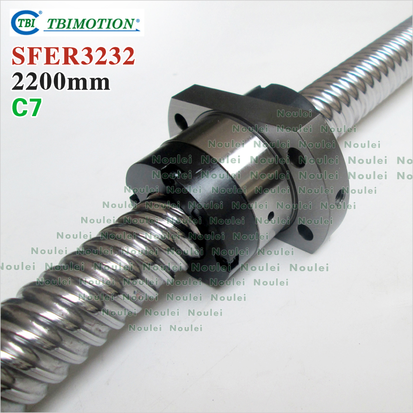 Taiwan TBI 3232 ballscrew 2200mm lead 32mm pitch with SFE3232 nut 4 rows steel ball High speed screw for CNC kit винт tbi sfkr 0802t3d