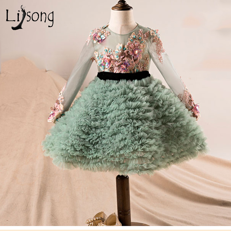 Lovely Mint Green Knee Length Flower Girl Dresses Embroidery Crystal Ruffles Kids Formal Dress Pageant Full Sleeves Bow 2018