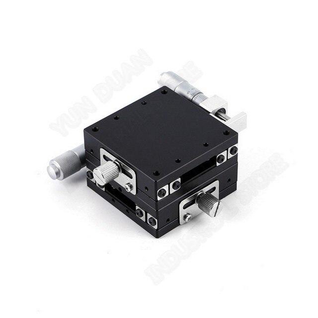 Eixo XY 60*60mm Plataforma de Corte Manual de Deslocamento Linear Fase Mesa Deslizante guia de Alta precisão esfera de Aço LGY60-L
