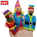 QWZ 10cm 6 pcs Children Plush Toy Hand Puppet King Queen Prince Princess Small Fingers Even Kids Performance Props Doll Finger