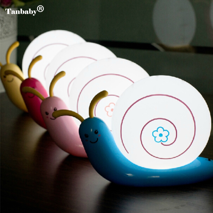 Tanbaby LED Night Light Cute Snail 4 Colours Night Light Lamp Party Christmas Decoration Colorful Night