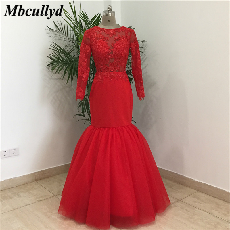 Mbcullyd Red Long   Bridesmaid     Dresses   2019 Sheer Long Sleeves Girls Party   Dress   Gown Applique Lace Vestidos de fiesta Custom Made