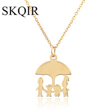 SKQIR Stainless Steel Girls Boys Necklace Women Mama Kids Neckless Jewelry Accessories Silver Color Family Necklaces Jewerly