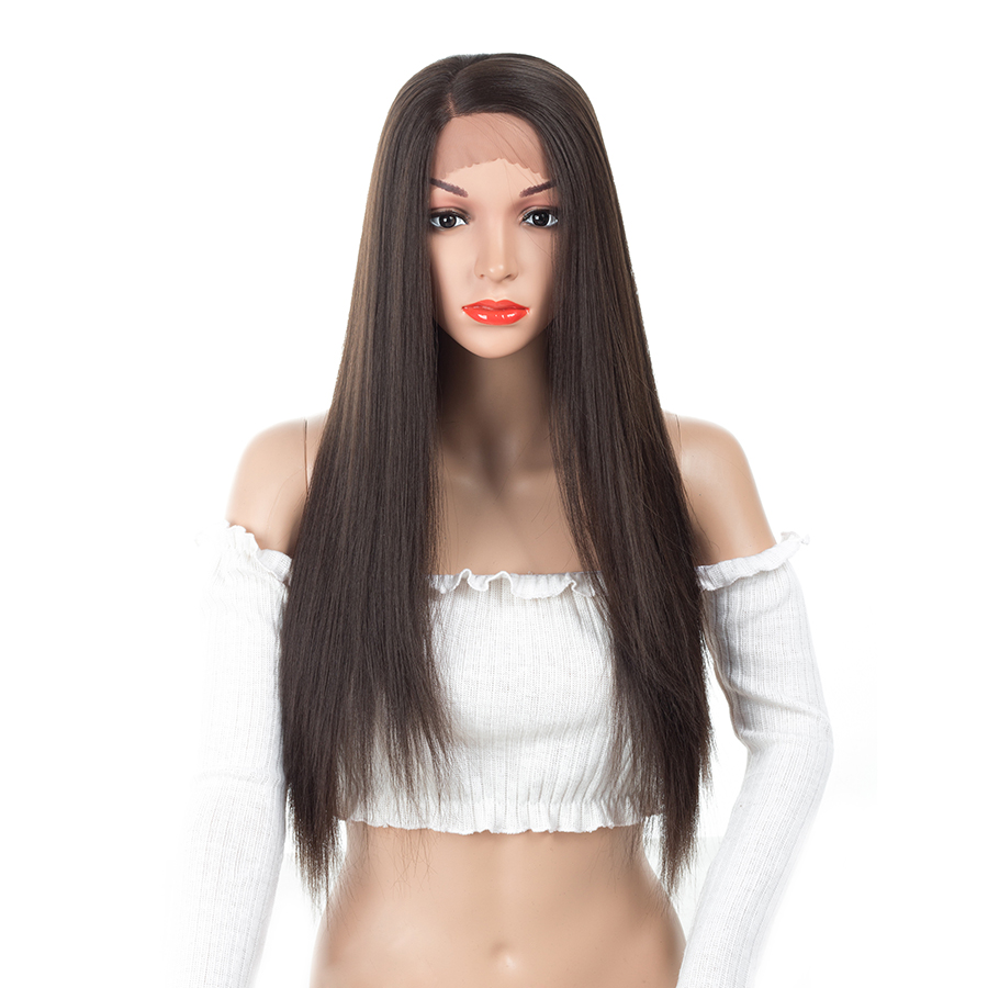 XCCOCO Fiber Glueless Long Straight 6 colors 20 Inch Heat Resistant Synthetic Lace Front Wig for Women