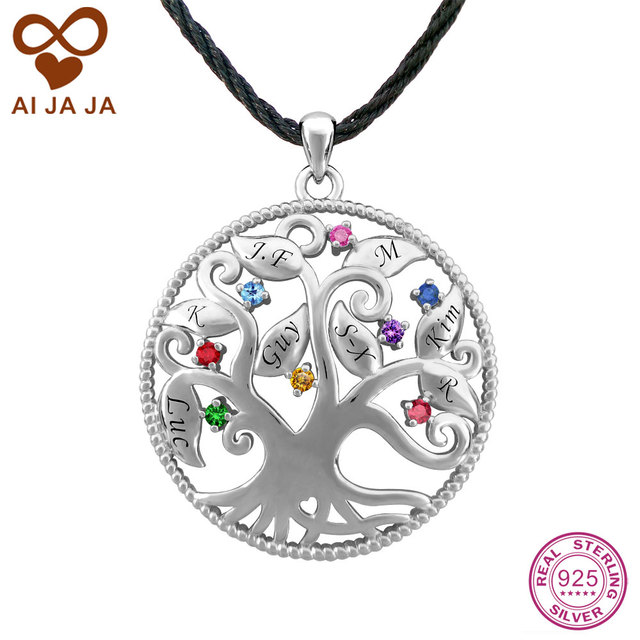 Aijaja 925 sterling silver family tree necklace pendants aijaja 925 sterling silver family tree necklace pendants personalized birthstones engraving life tree pendants for mozeypictures Image collections