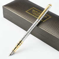 High Quality Business Office Pen Luxury 10K Gold Fountain Pen Ink Pen NIB 0.5mm Full Metal Golden Clip Stationery 03860