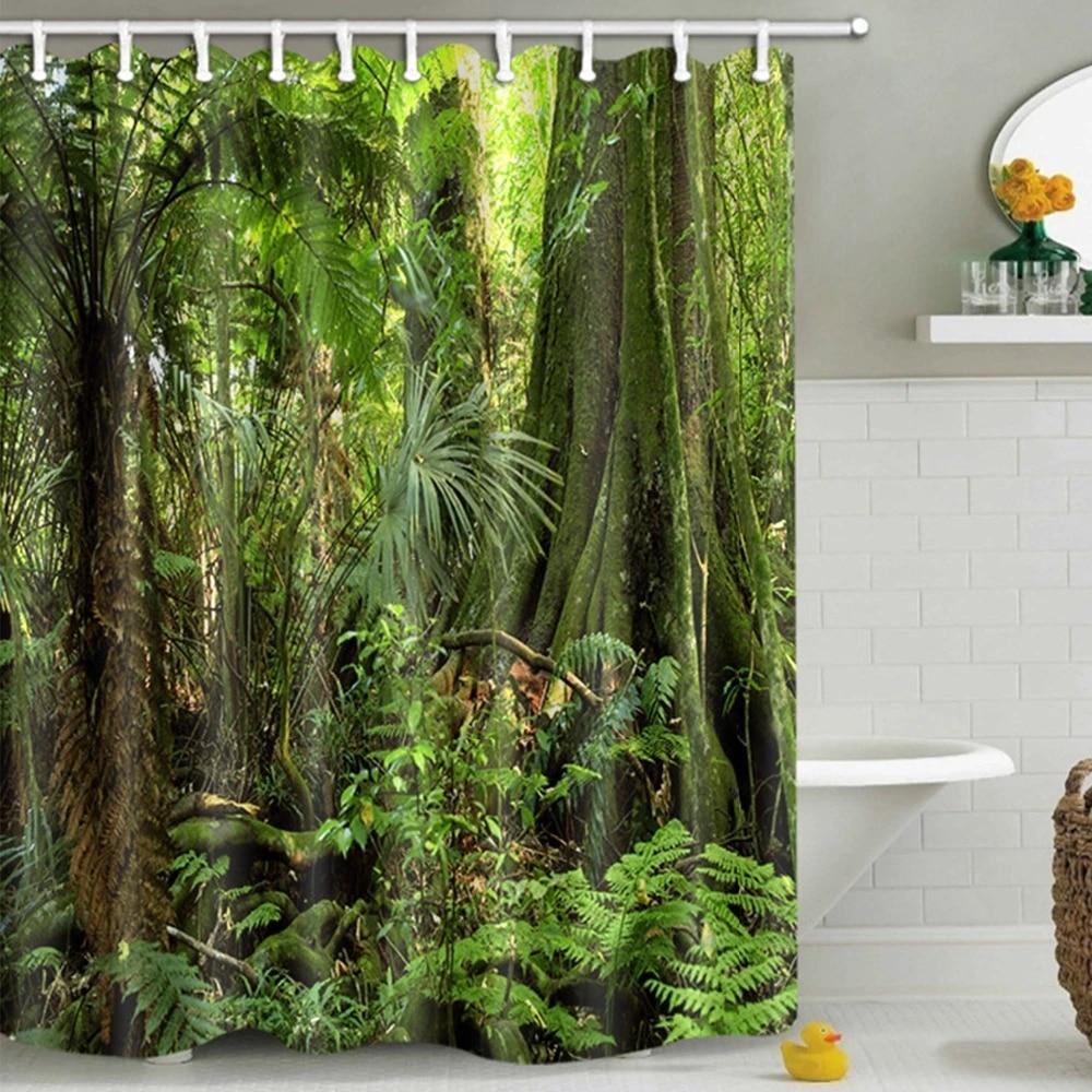 tropical plants rainforest shower curtain natural landscape green forest trees bathroom curtains waterproof fabric bath screens