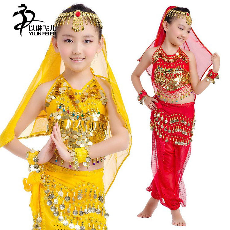 Indian costume children top for belly dance chiffon beads coins bellydance belt costume oriental dance clothes bandage top 6pcs