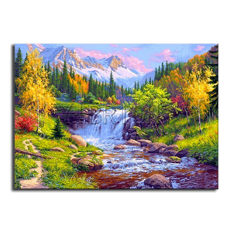Full Round Diamond mosaic rivers DIY 3D Diamond painting mountain Full Square Diamond em ...