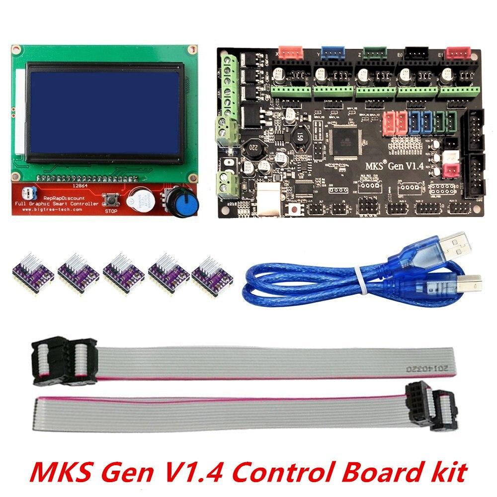 3D Printer Kit MKS Gen V1.4 with MKS Gen V1.4 RepRap Board + 5PCS DRV8825 Driver + 12864 Graphic LCD цена