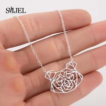 SMJEL Fashion Geometric Dog Head Necklace Pendants for Women Girls Necklace Charm Animal Series Jewelry for Pet lovers(China)